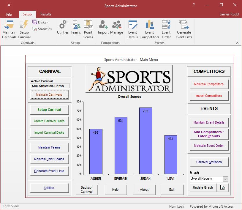 Sports Admin Main Screen