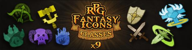9 RPG Fantasy Classes Icons