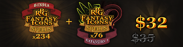 310 RPG Fantasy Spells Icons (bundle + expansion 1)