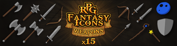15 RPG Fantasy Weapons Icons