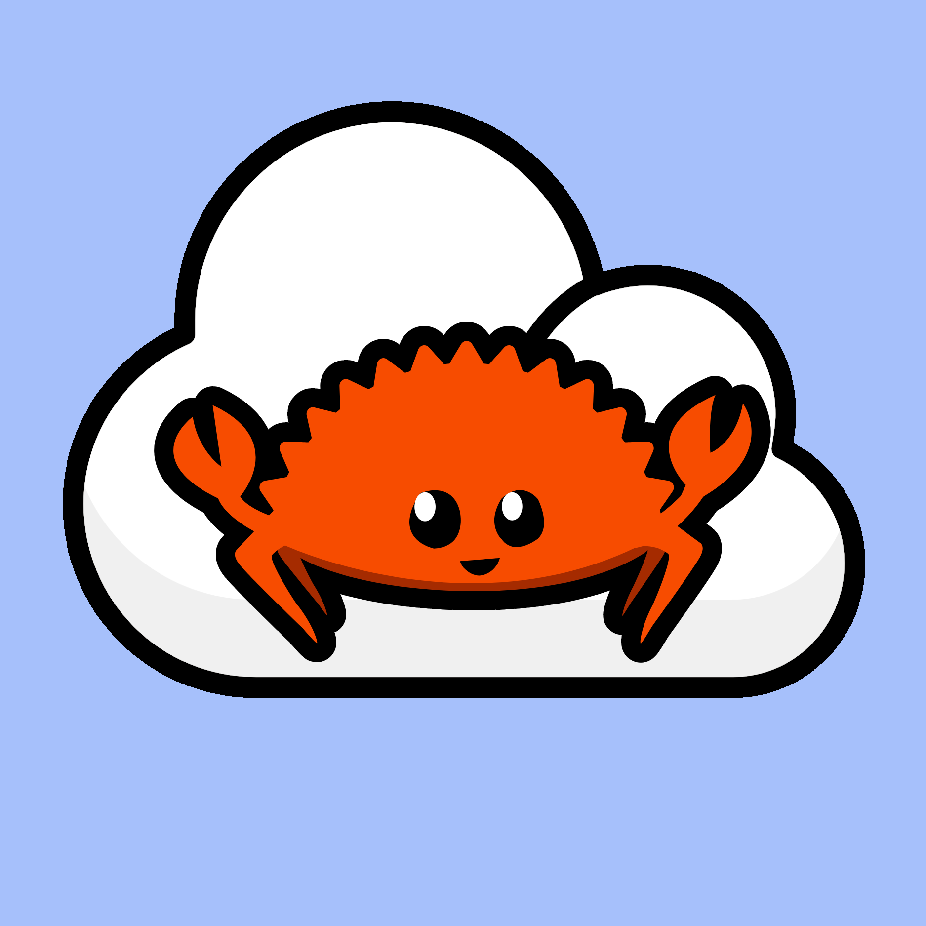 Rust Cloud Native logo, which features the Ferris crab mascot on a white cloud with a light blue background.