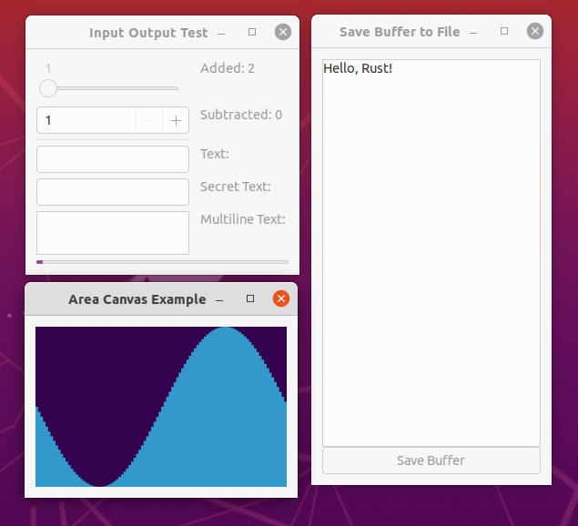 Three example GUI applications running on Ubuntu