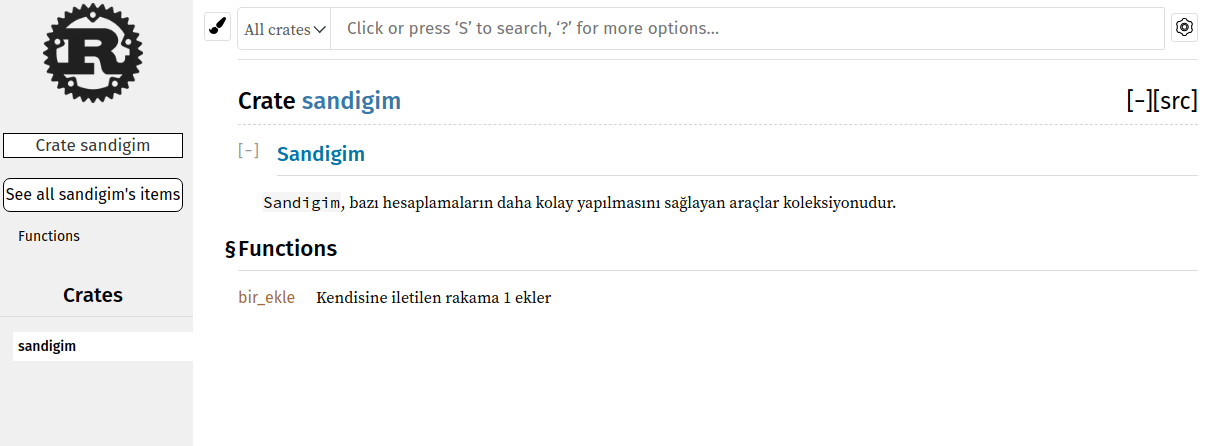 Sandığın tamamını içeren yorumlarla oluşturulmuş HTML belgeleri
