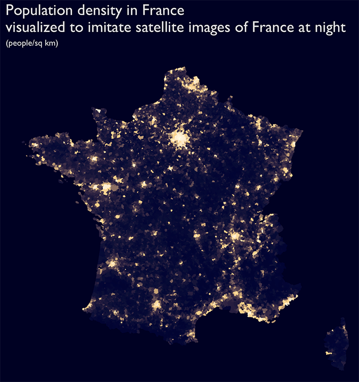 "Mapping ""France at Night"" in R"