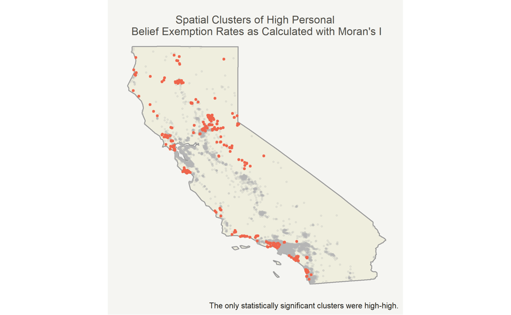 Spatial clustering of personal belief exemptions for vaccines in California
