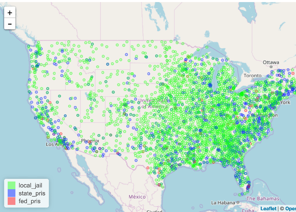 Map prisons in the United States