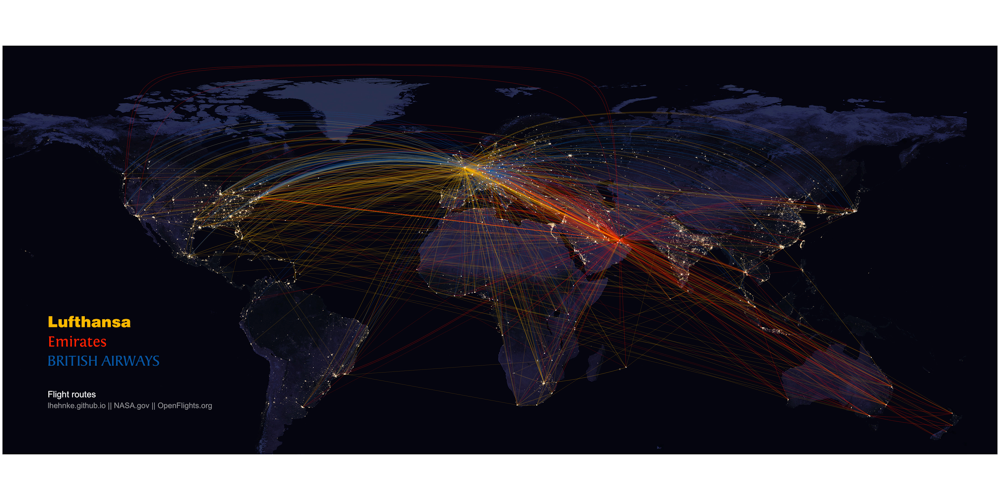 Flights at Night: Mapping airline routes on NASA's night lights images
