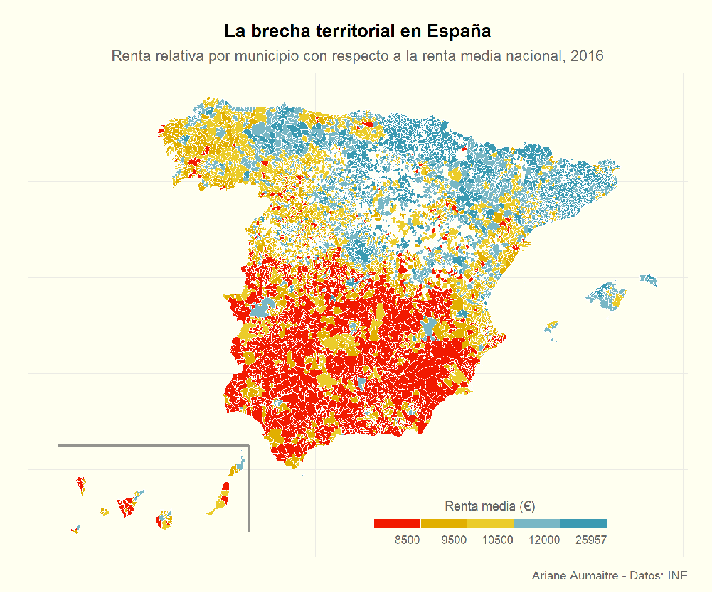 Tutorial: plotting maps of Spain with ggplot2