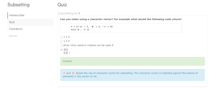 Screenshot of a quiz about subsetting in R