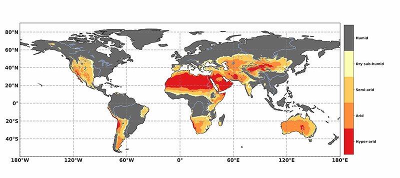 Using raster maths to calculate global aridity and changes in aridity over time in parts of Southern Africa.
