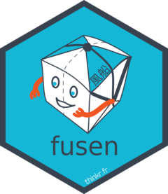 fusen logo which is a blue hexagone with package inside it