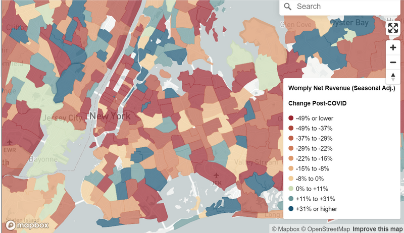 Spatial chart illustrating revenue impact of Covid-19 on small New York business