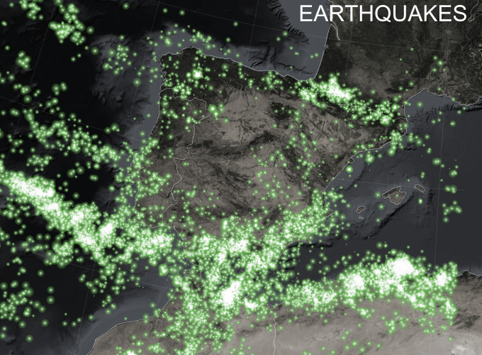 A scatterplot map in 'firefly' style of earthquake locations