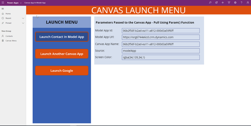 Canvas App Menu