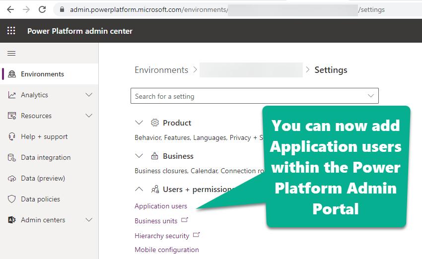 App User Power Platform Admin Portal