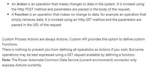 Custom Process Action vs Custom API