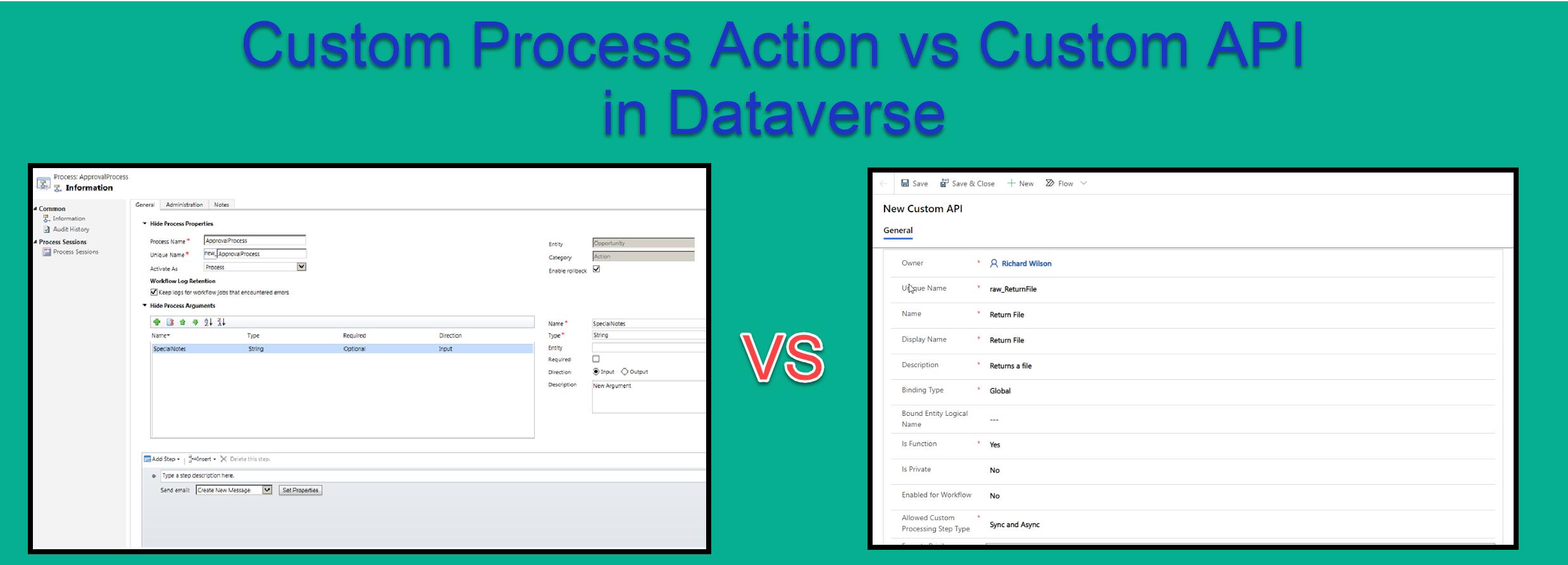 Custom Process Action vs Custom API in Dataverse
