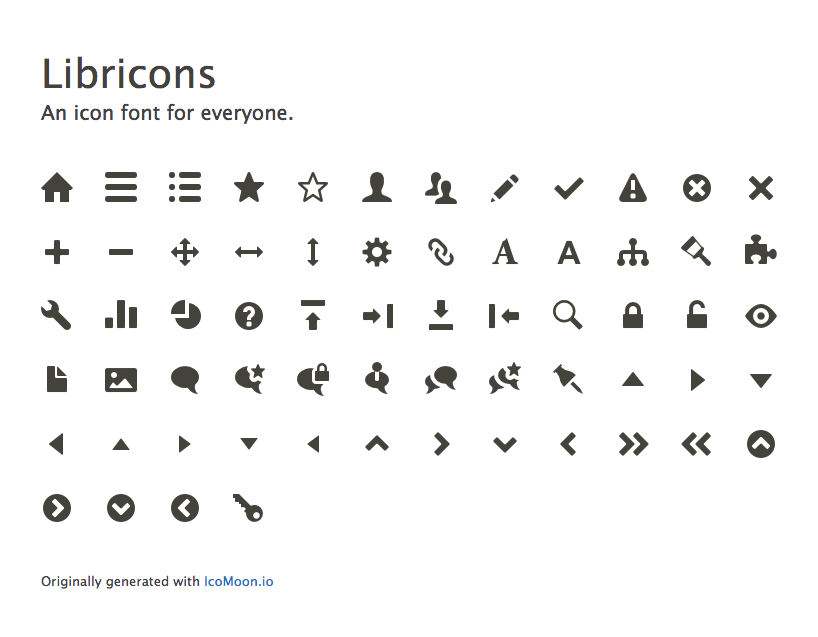 Libricons. An icon font for everyone
