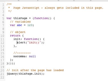 Page Javascript
