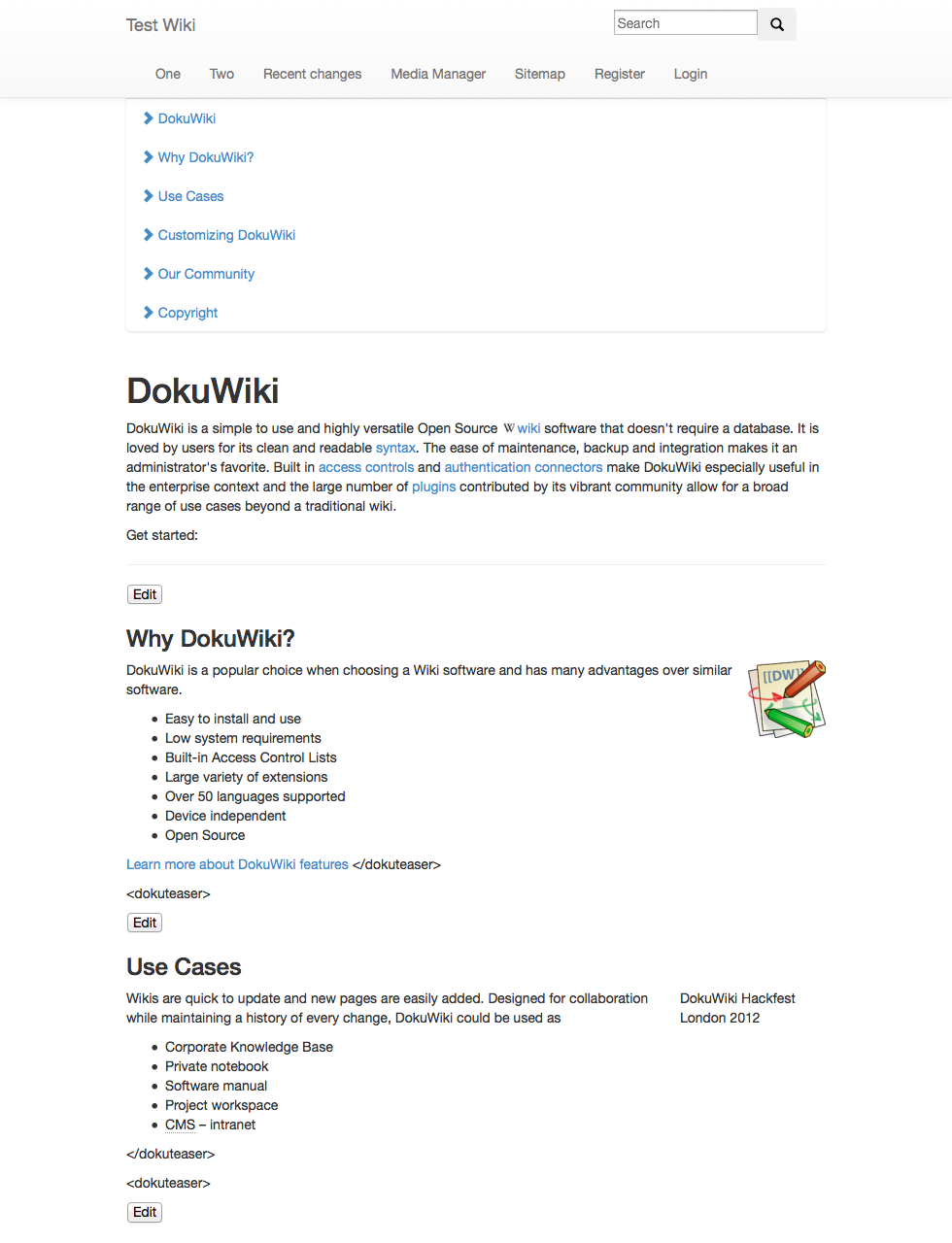 Dokuwiki bootstrap template change : 2018