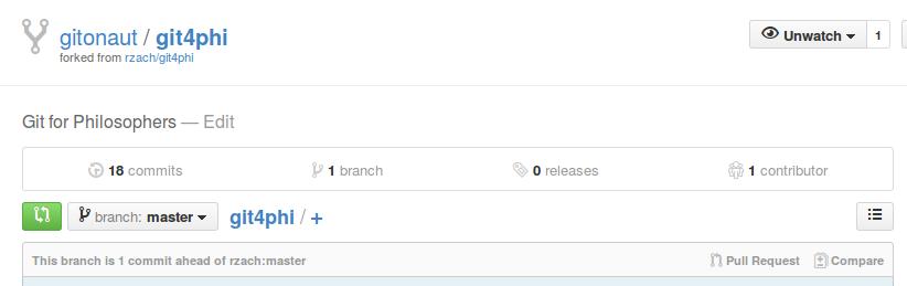 GitHub fork view