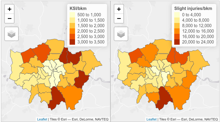 Cyclist KSI and slight injuries per bkm for London Boroughs 2009 - 2013