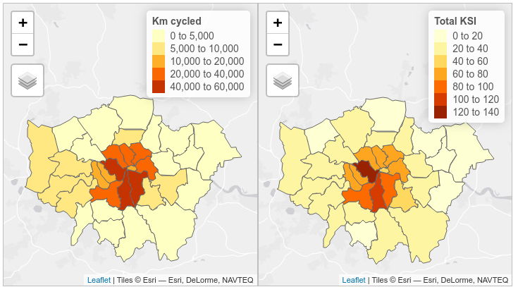 Total km cycled (one-way commuter journeys from 2011 census) and total KSI (2009 - 2013 weekday peak hours) using casualty severity adjustments for non-injury based reporting systems