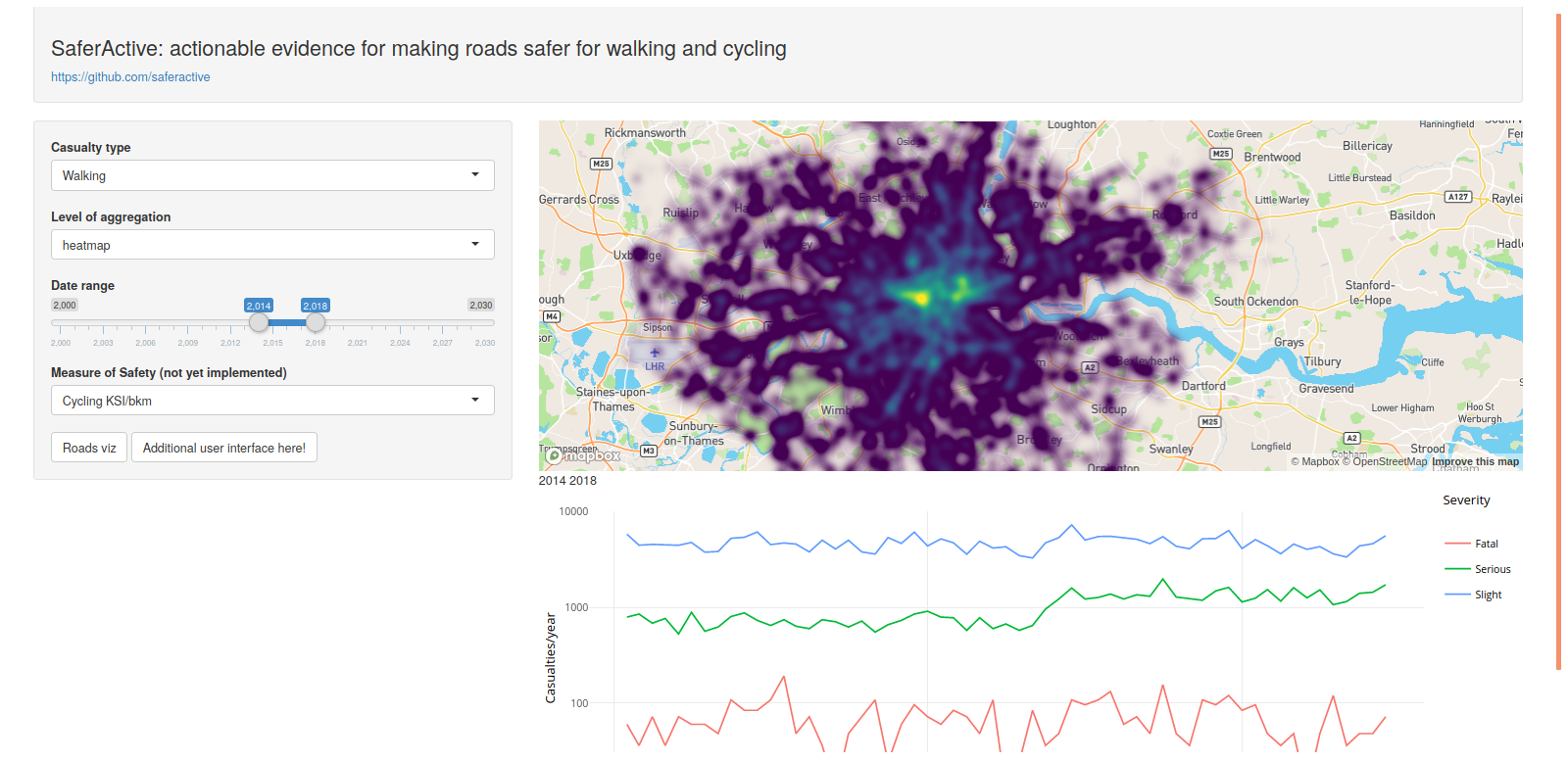 Prototype interactive visualisation of road crashes with a heatmap.