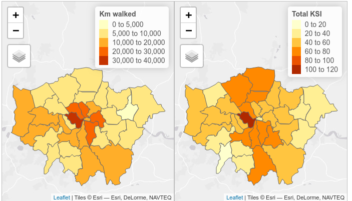 Total km walked (one-way commuter journeys from 2011 census) and total KSI (2009 - 2013 weekday peak hours) using casualty severity adjustments for non-injury based reporting systems