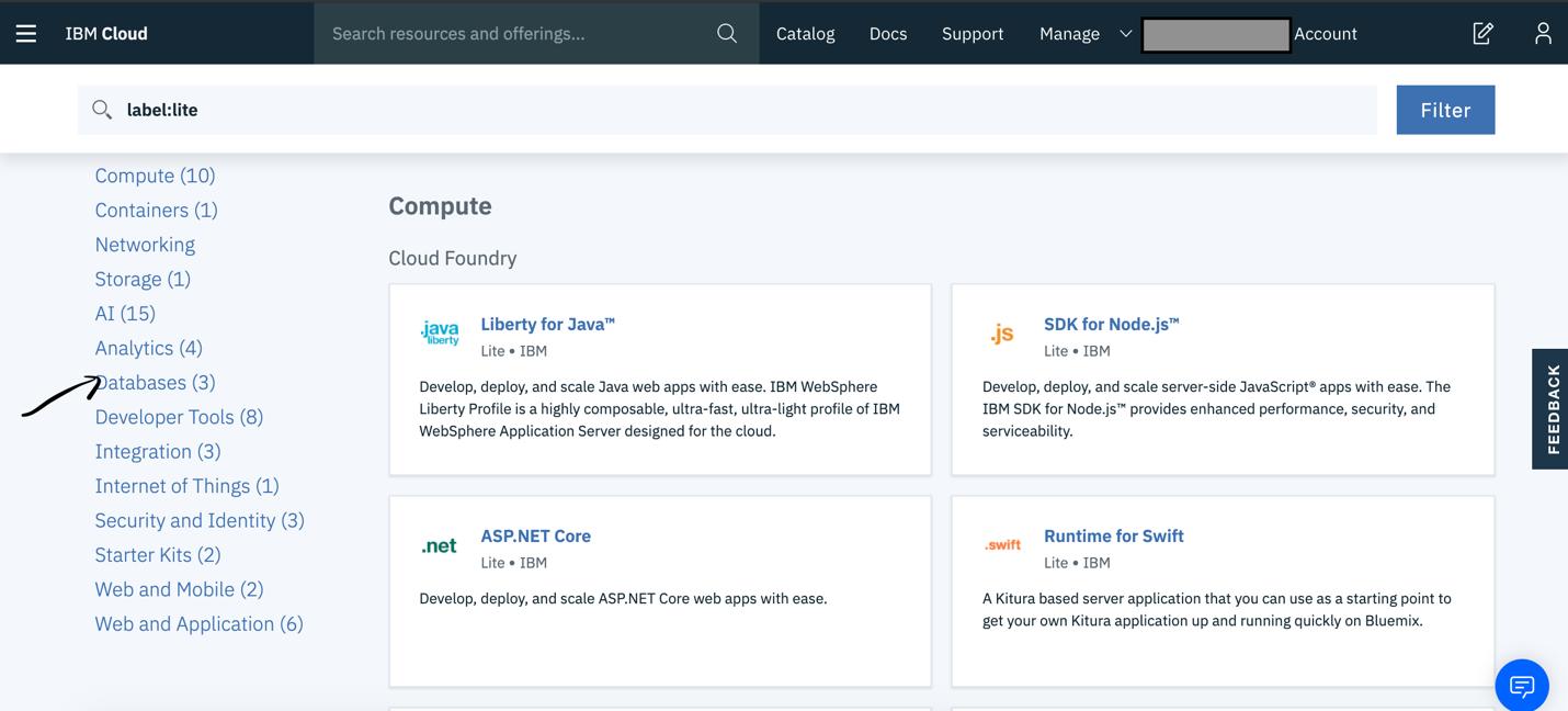 Select database category