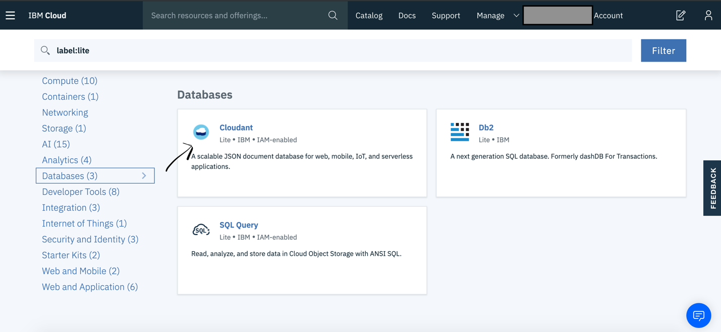 Select Cloudant database service