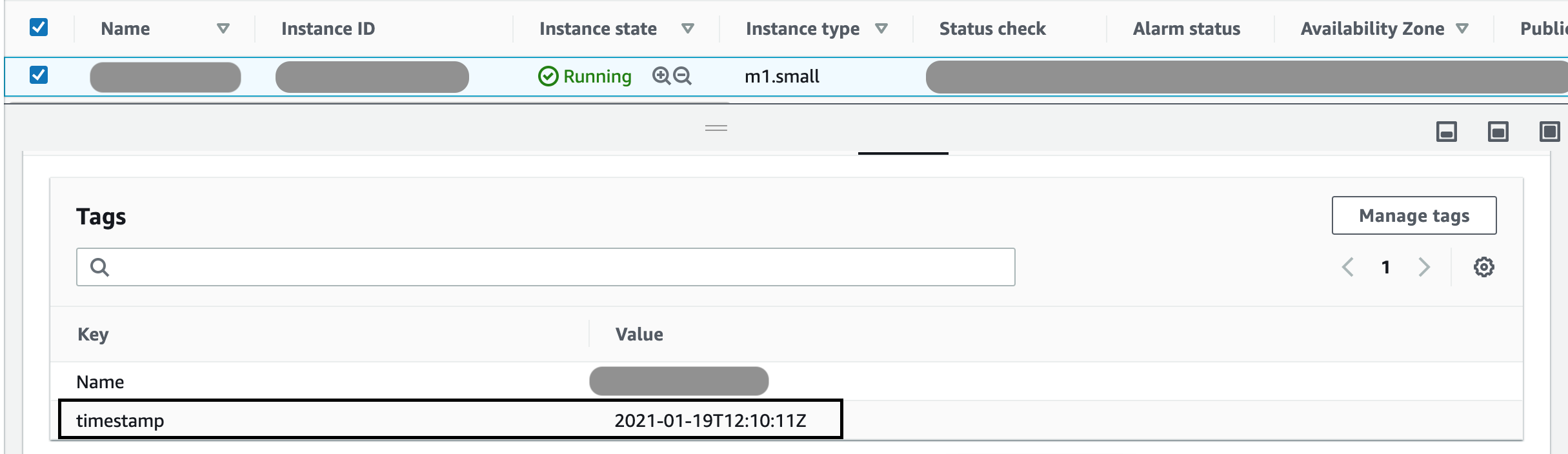 EC2 instance with timestamp Tag