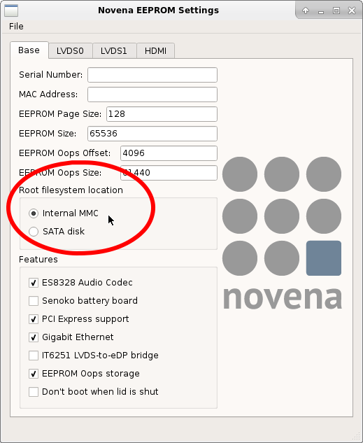 Ensure Novena has root set to MMC before rebooting