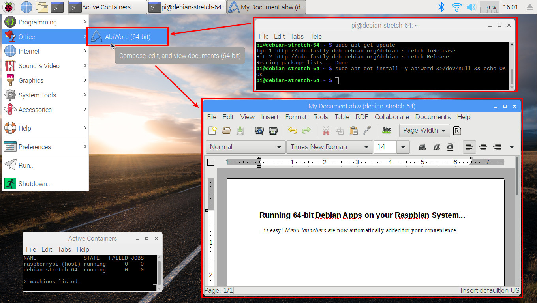 Easily run 64-bit Debian Stretch packages on a Raspbian system: new