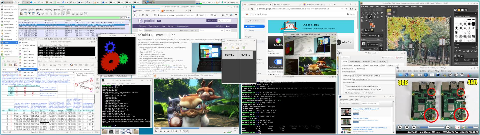 [gentoo-on-rpi-64bit in use on Pi4 (screenshot)]