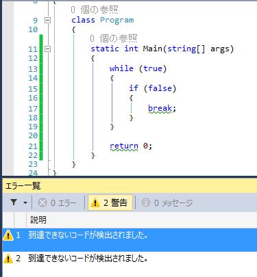到達できないコード