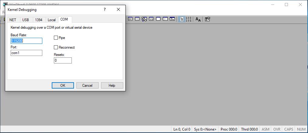 Start kernel debugger