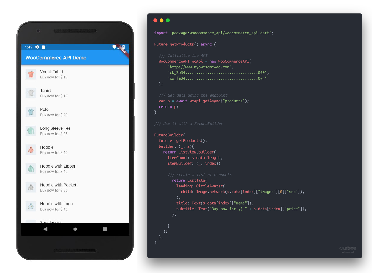 Example code and preview