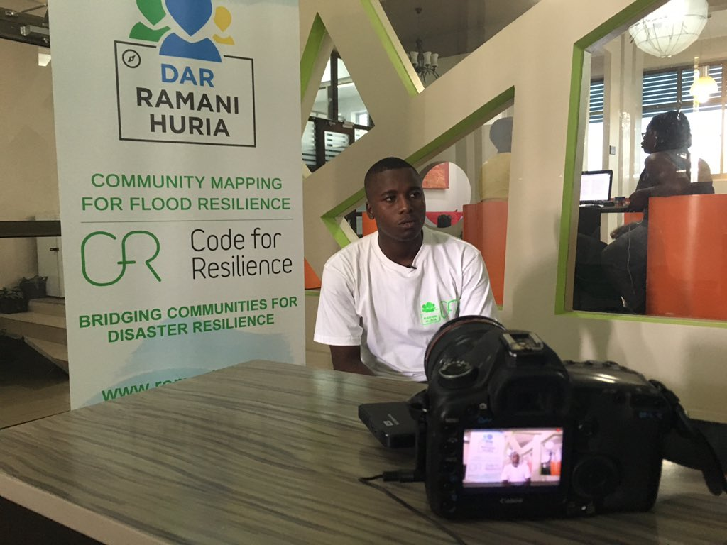 Me interviewed for Code for Resilience Tanzania Program