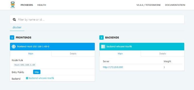 Docker page of Traefik Dashboard