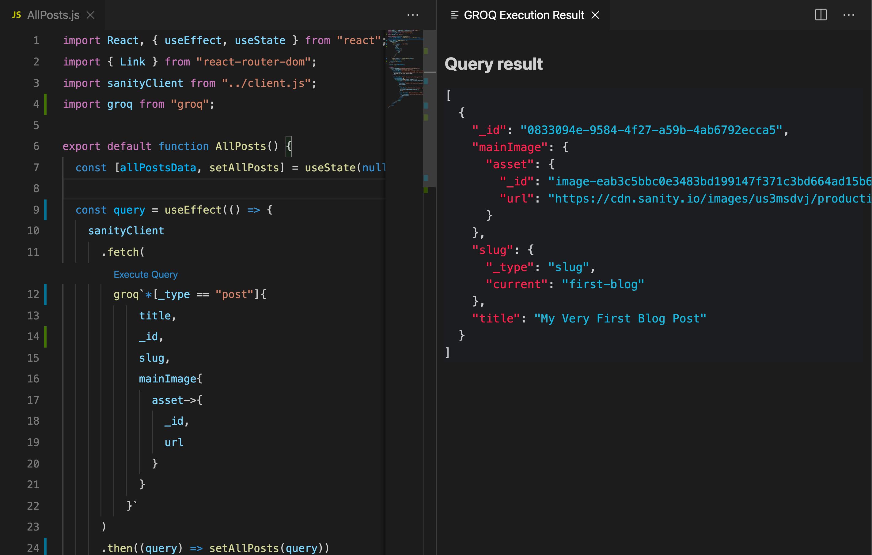 Execute GROQ in VS Code