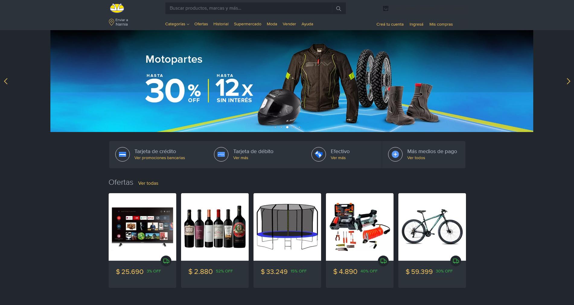 Mercadolibre Dark Mode screenshot