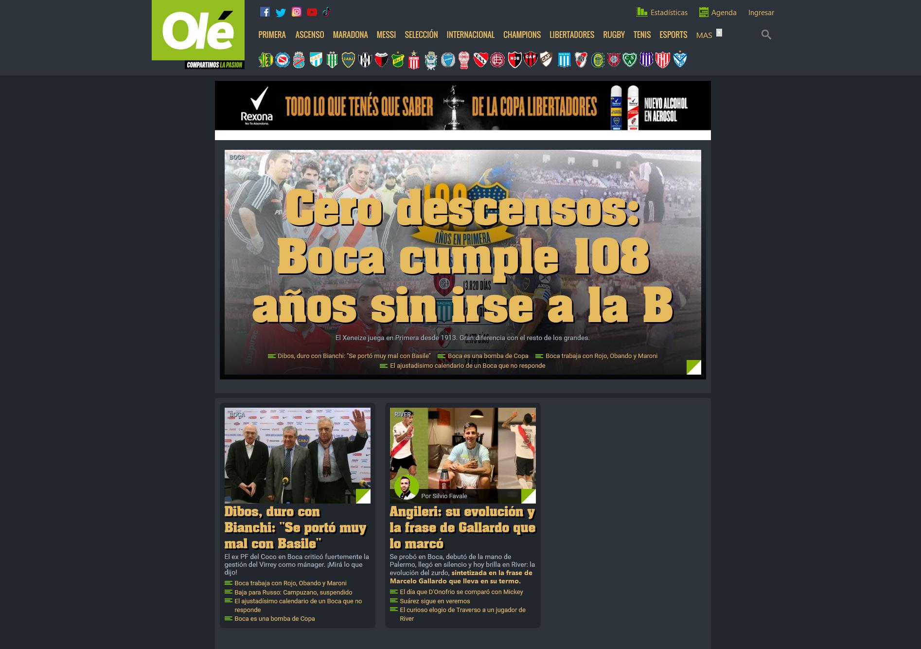 Ole.com.ar Dark Mode screenshot