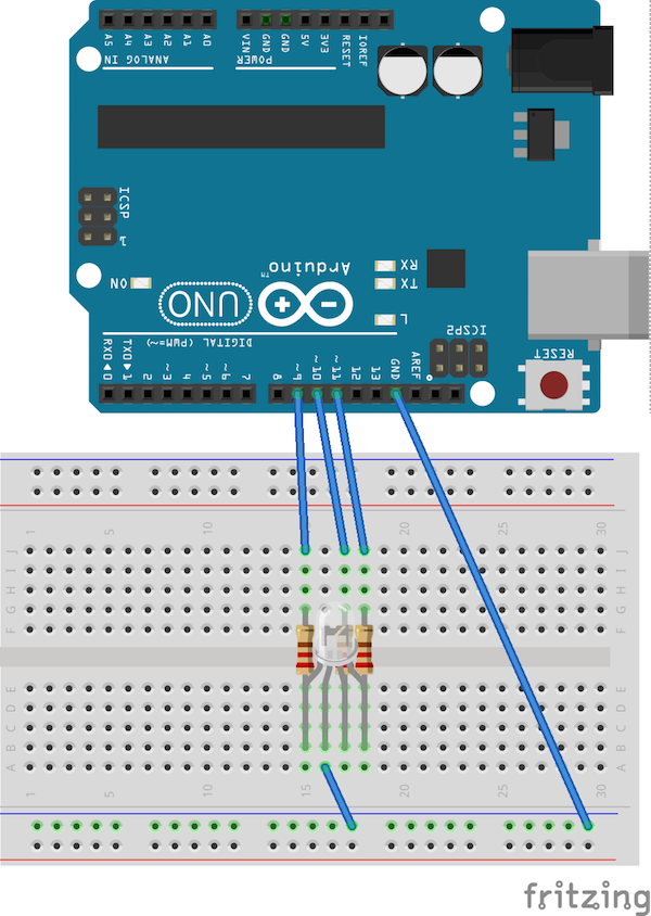 rgb led layout with red in 9, green in 10, and blue in 11, plus resistors between board and leg; ground is to ground/