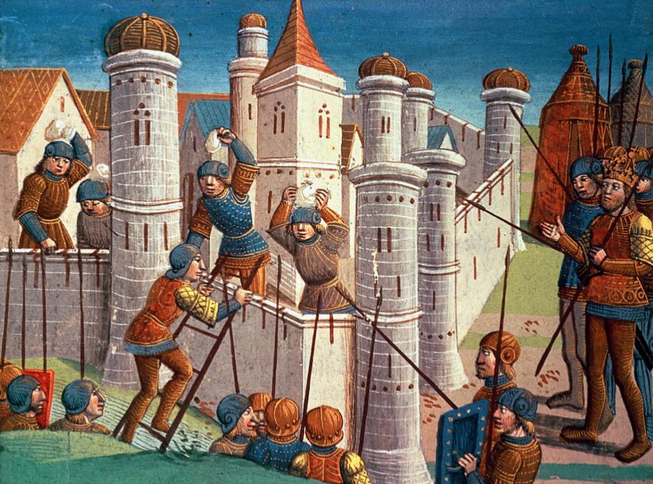 Средневековая иллюстрация осады замка