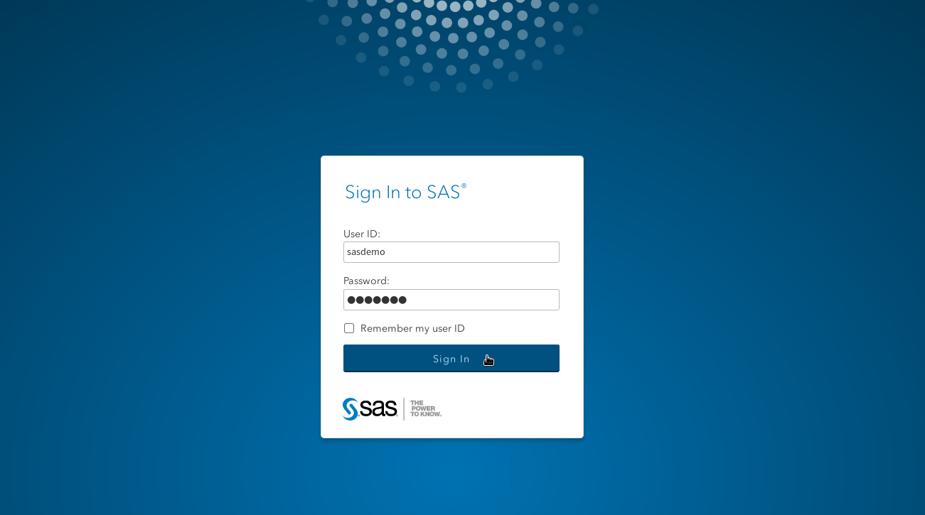 SAS Logon Screen