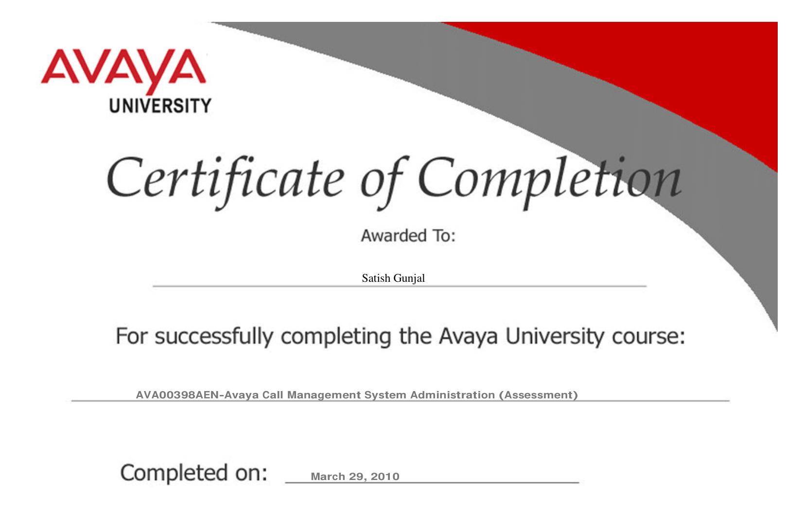 Avaya Call Management System Administration Assessment