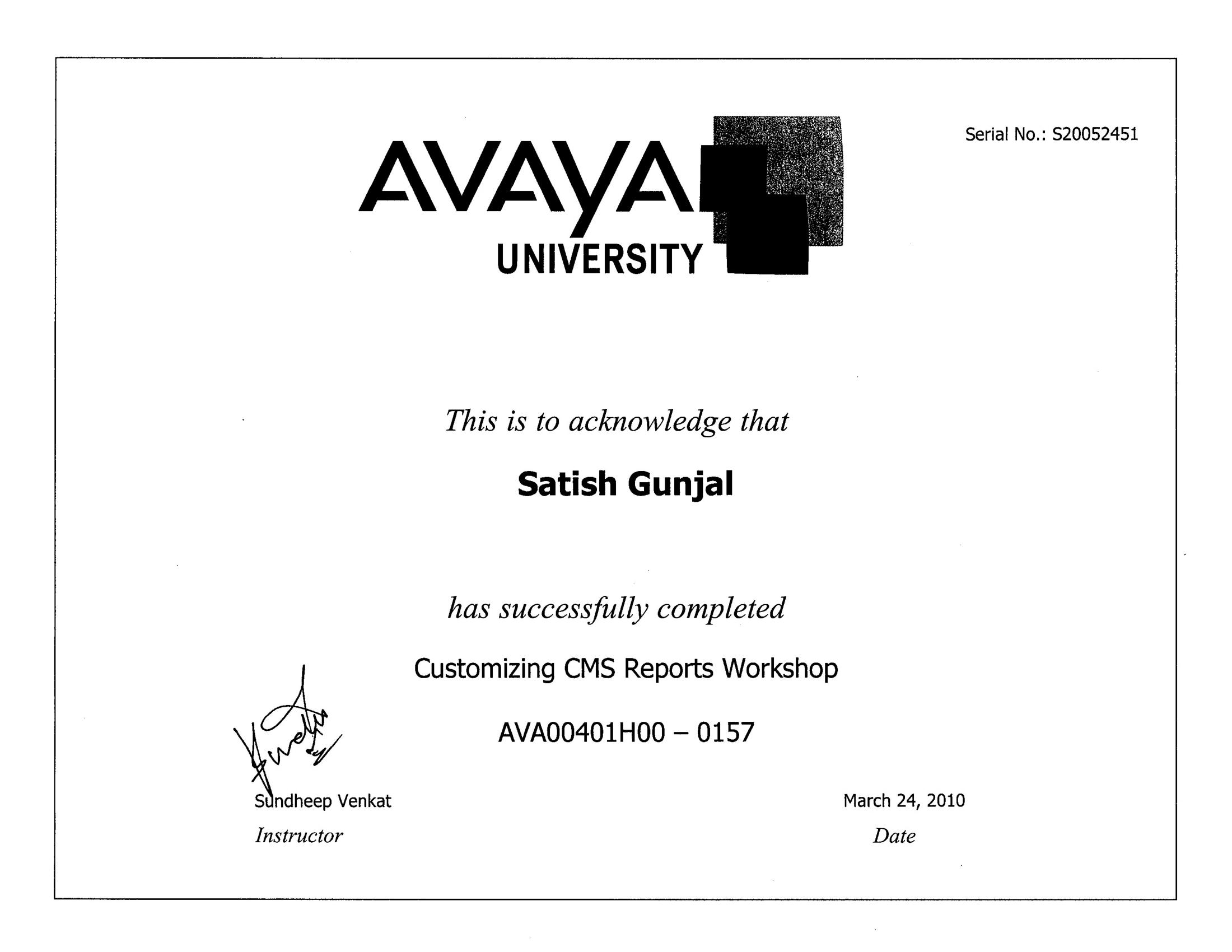Avaya Customizing CMS Reports Workshop