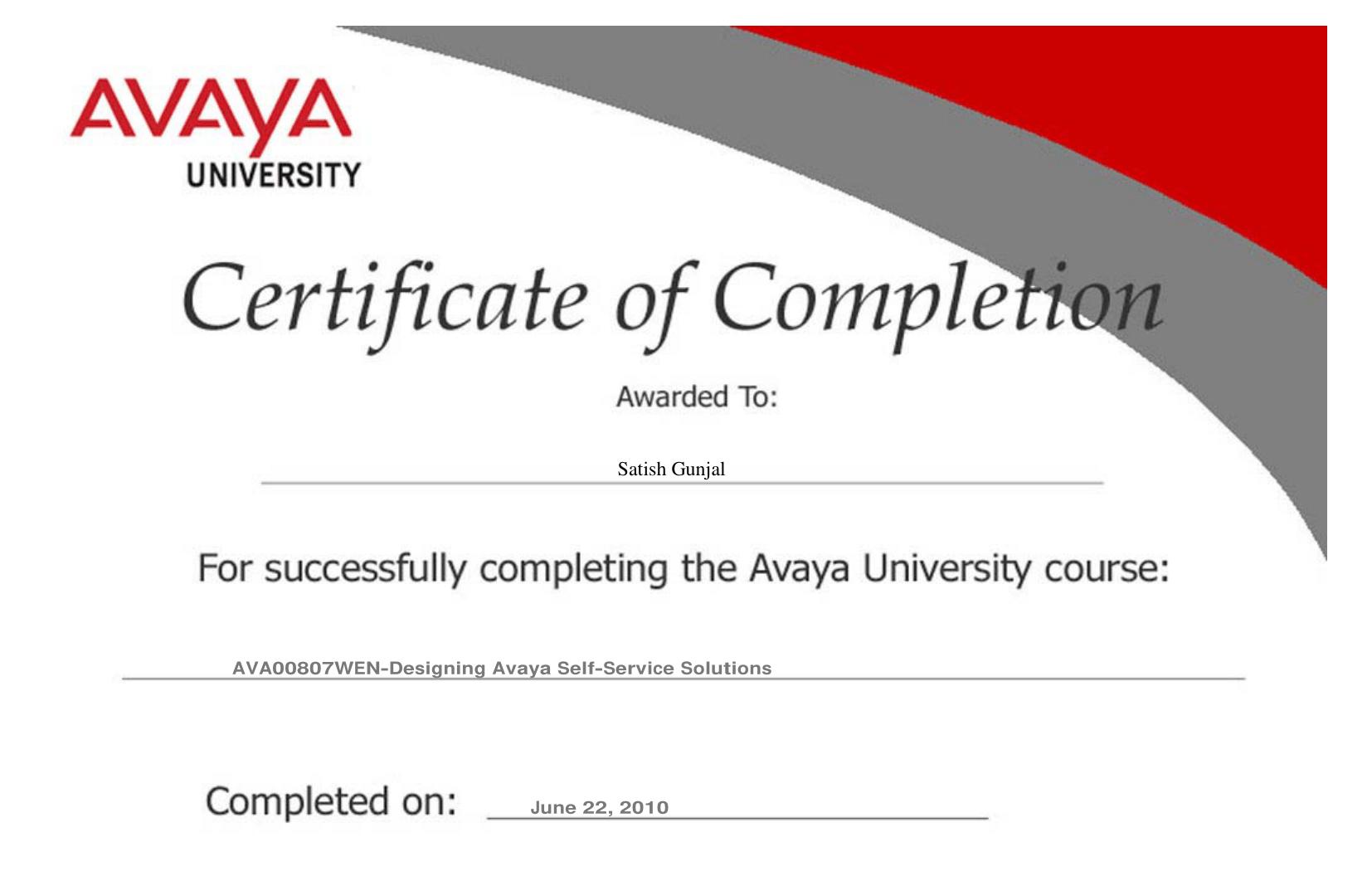 Avaya Designing Avaya Self Service Solutions AVA00807WEN