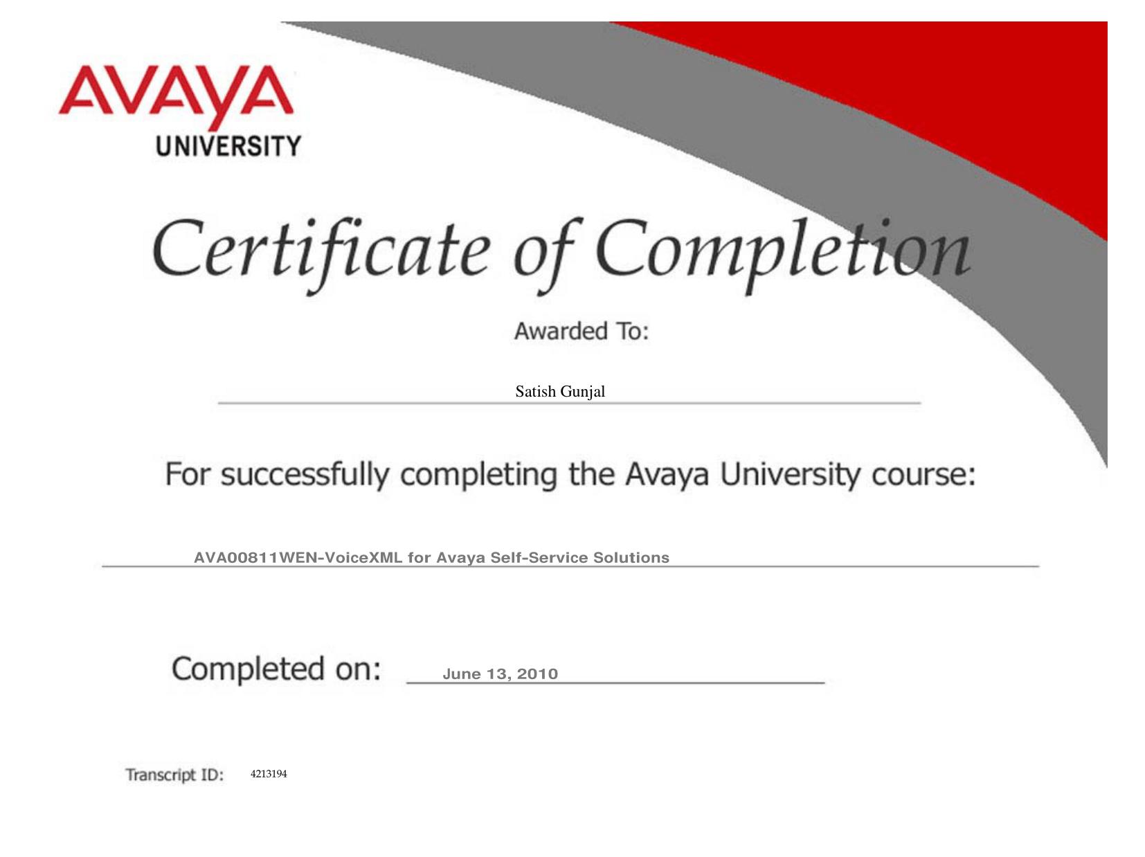 Avaya VoiceXML for Avaya Self Service Solutions